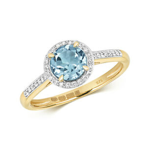 9ct Yellow Gold Diamond and Round Cut Blue Topaz Cocktail Ring
