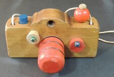 Vintage Toy Wood Camera With Neck Cord
