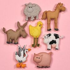 Vestirla Botones Funny Farm 4667-Caballo De Cerdo Burro Goose Oveja Vaca Chica