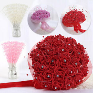 Artificial Pearl Bead String Bridal Bouquet Flower Wedding Party Home Decor New