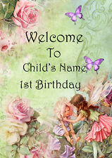 Personalised Fairy Party Welcome Sign Print Babies 1st Birthday, First Party