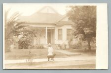Girl w Collie-Type Dog Rppc Visalia Ca? Antique House Photo—Sepia Azo 1910s