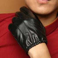Men's 360° Smart Touch Screen Gloves Genuine Leather Lined 3 Lines Black