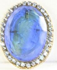 VTG ORIGINAL BY ROBERT RHINESTONE BLUE GREEN GLASS INTAGLIO CAMEO PIN PENDANT