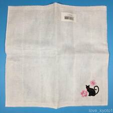 F/S Japanese Fukin Dish Cloth Embroidery Black Cat 29cm 11.42inch Rayon 100%
