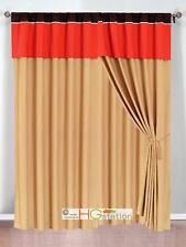 4P Clover Trellis Floral Curtain Set Orange Brown Gold Valance Drape Sheer Liner