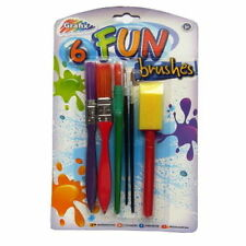 Fun Painting & Art Brushes - Pack of 6 - Thick, Fine & Sponge Brushes
