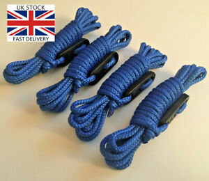 BRIGHT BLUE 4 x 3m Guy Line Ropes PACK Paracord Tent Camping Festival Glamping