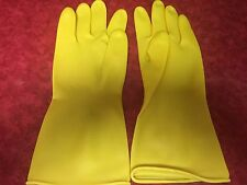 "Industrial Latex Rubber Gloves Heavy Duty 12"" Acid Resistant SZ L"