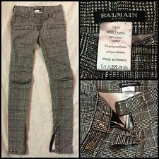 Pierre BALMAIN France Plaid Denim Pants Skinny Jeans Petite 00, 000, XXS, XS