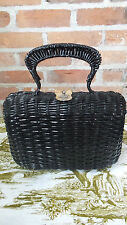 Vtg Purse handbag Black Faux Wicker Look  Marcus Brothers Brit. colony hong kong