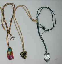 Macrame Hemp Pouch with stone Gemstone Holder Large Crystal Necklace