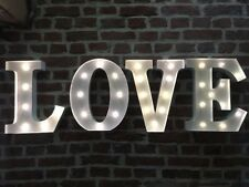 LED LIGHT CARNIVAL CIRCUS  WHITE  METAL WORD LOVE - WALL OR FREE STANDING 13INCH
