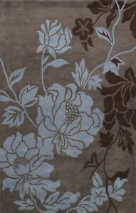 Floral Hand-tufted Modern Oriental Area Rug Contemporary Gray Wool Carpet 5x8 ft