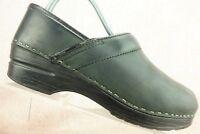Dansko Black Leather Professional Nursing Clogs Shoes Women's 38 / 7.5 - 8