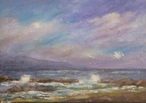 "Original Seascape / Coastal Impressionist Painting Acrylic on Canvas 8""X 12""."