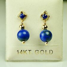 Screw back 14k solid yell. gold 8mm natural Lapis Lazuli small earrings 6.7 tcw