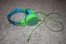 Justice Girls Techtastic Blue Green Glitter Sequin Adjustable Headphones
