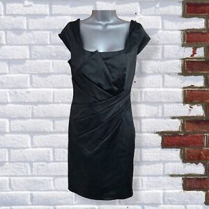Red Herring - Womens UK 14 Black Satin Evening Cocktail Occasion Lined Dress