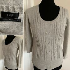F&F 100% Cashmere Grey Cable Knit Jumper Scoop Neck 3/4 Sleeve Uk 10/12 Casual