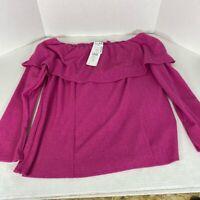 Prelude Womens Blouse Pink Magenta Long Sleev Shawl Collar Neck USA Made L New