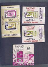 YEMEN SOUTH ARABIA SPORT COSMOS SPORT 4 SHEETS MNH