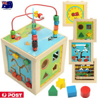 AU 20cm 5 in 1 Wooden Multi-Activity Cube Kid Activity Learning Play Toy
