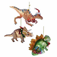 Set/3 Kurt Adler Dinosaur T Rex Triceratops Christmas Tree Ornaments Boy Gift