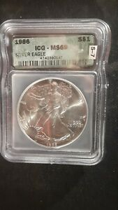 1986 Silver Eagle US Dollar Coin Graded MS69 ICG Serial Number 4740390147