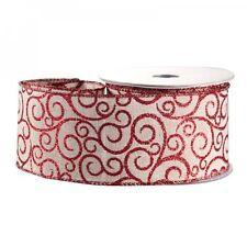 Luxury Christmas Natural Red Glitter Swirl Fabric Hessian Ribbon - 1m length