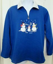 NWT Woman's Breckenridge Snowman applique fleece 1/2 Zip X-mas sweater fleece 2X