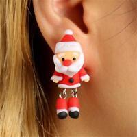 Handmade Lovely Animal Santa Claus Christmas Earrings Ear Stud Polymer Clay