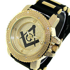 MENS ICED OUT ICE NATION GOLD/BLACK MASONIC HIP HOP WATCH WITH BULLET BAND