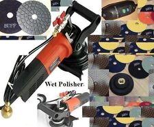 "220V Wet Grinder Concrete 125mm 5"" Polishing 28 Pad 4 DAMO Buff Granite Glass"