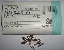 SWAROVSKI ® -Goccia 360 Pz  4300/2-10x6 mm. Crystal Original Vintage Gold Foiled