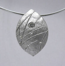 Ola Gorie 9ct White Gold Mistral Diamond Pendant Omega Wire Boxed Scottish