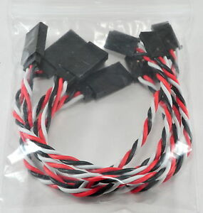 5 Pack: (5) 15CM Twisted 22awg Servo Extension Leads / Futaba