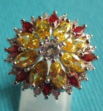 925 Sterling Silver Ring With Citrine,Garnet & Topaz UK U 1/2, US10.25 (rg2273)