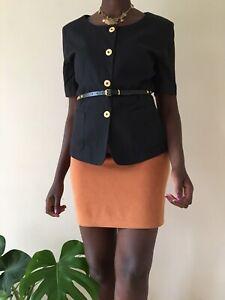 Marella ladies vintage cotton jacket size M UK 12 black short sleeved 80's