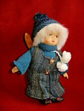 """Vintage Bisque & Cloth Doll with Skis. Knit Hat. 7""""."""