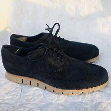COLE HAAN Men 11  M ZEROGRAND Wingtip Midnight Blue Suede Leather Oxford Sneaker