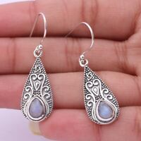Moonstone Gemstone Handmade Jewelry 925 Solid Sterling Silver Dangle Earrings
