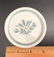 Vintage ARABIA Finland, GREEN THISTLE, 3-1/4 inch Miniature Plate, Hand Painted