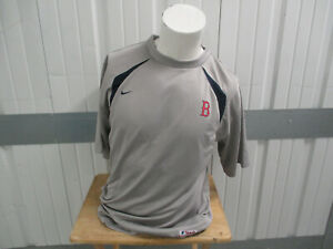 VINTAGE NIKE BOSTON RED SOX AUTHENTIC SEWN TRAINING GRAY MEDIUM SHIRT PRE-OWNED