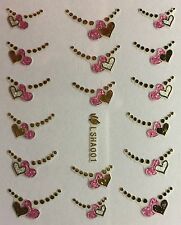 Nail Art 3D Decal Stickers Heart Tips Pink & Gold LSHA001
