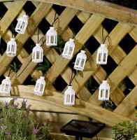 White Moroccan Lantern Solar Powered Garden LED Fairy String Lights shabby chic