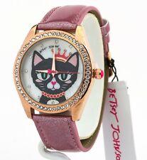 Betsey Johnson Women's Meowing About It Glitter Band Watch 37259129RGD220, New