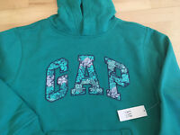 Girls Clothes GAP Kids Logo Soft Fleece Teal Sweatshirt Hoodie $30 Large 10 12