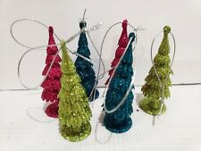 "Mini 3"" Christmas Trees Glitter Multi Color Ornaments Decor Set of 6"