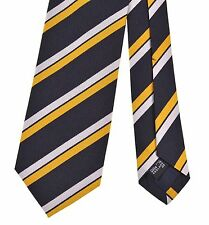 DRAKES of London Navy Blue Silk Yellow Ribbed Regimental Repp Stripe Silk Tie